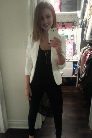 H&M jeans - H&M blazer - urban behavior cape - Forever 21 necklace