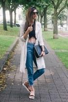 off white H&M coat - blue denim Topshop jeans - black Zara top