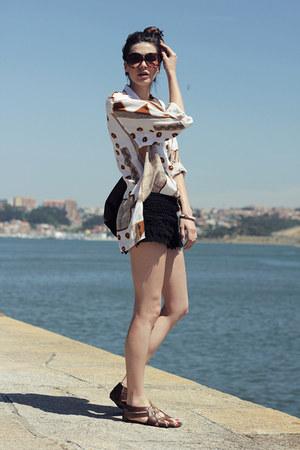 vintage shirt - Zara shorts - pull&bear sandals