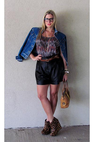 tawny leopard print rachel roy wedges - blue Vintage Lee jacket