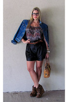 tawny leopard print rachel roy wedges - blue Vintage Lee jacket