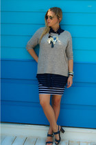 heather gray Forever 21 sweater - navy American Apparel shirt - gold retro Ray B