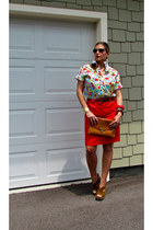 tawny H&M bag - gold Ray Ban sunglasses - floral print Dolce & Gabbana blouse -