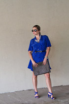 blue dress - dark brown Louis Vuitton bag - black Ray Ban sunglasses