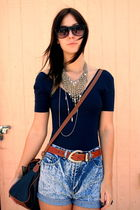 American Apparel blouse - vintage belt - vintage shorts - vintage purse - Swap M
