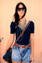 American Apparel blouse - vintage belt - vintage shorts - vintage purse - Swap M