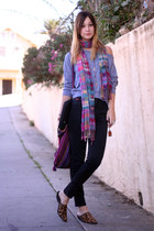 American Apparel blouse - vintage jeans - Anthropologie scarf
