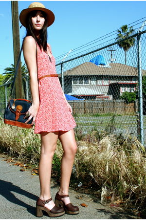 vintage dress - thrifted shoes - vintage purse - vintage hat - vintage accessori