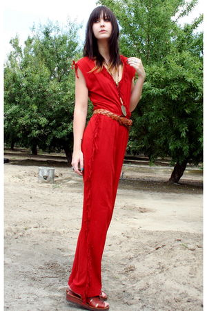 red red fringe jump vintage suit - vintage shoes