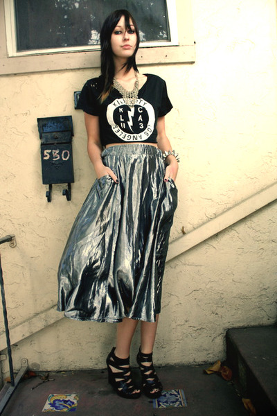 Kill City shirt - vintage skirt - Aldo shoes - vintage necklace - H&M bracelet
