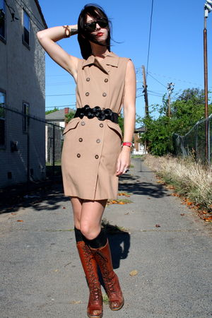 vintage dress - lace up brown vintage boots