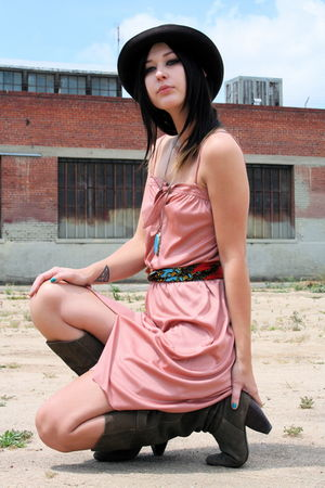 vintage dress - UO boots - from mexico necklace - vintage hat