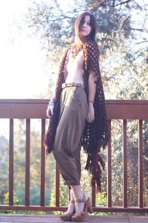 vintage cardigan - nude American Apparel bodysuit - vintage pants
