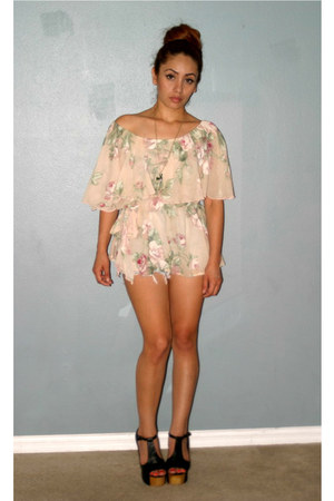 nude vintage blouse vintage blouse - black Jeffrey Campbell heels