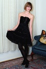 Black-karen-millen-dress-white-vintage-jacket-black-report-signature-shoes-