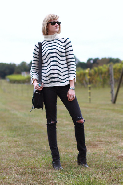 ivory stripes Zara sweater - black ankle boots H&M boots