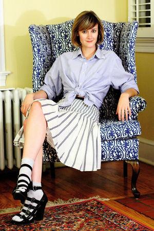 blue J Press shirt - blue Anthropologie skirt - silver H&M socks - black Forever