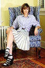 blue J Press shirt - blue Anthropologie skirt - silver H&M socks - black Forever