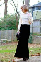 black velvet vintage skirt - black Givenchy boots