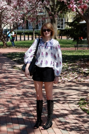 Angie top - Ray Ban sunglasses - Boyy purse - Old Navy shorts - Urban Outfitters