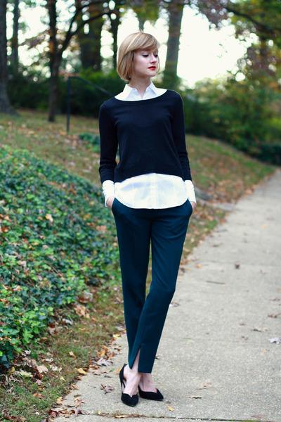black cropped H&M sweater - white button-down ann taylor blouse