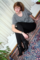 silver Forever 21 t-shirt - black H&M pants - black balenciaga boots - silver Zu