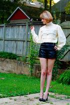 white vintage blouse - black Topshop shorts - black Givenchy shoes - gold vintag