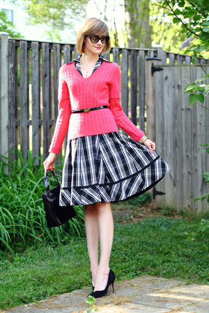 black plaid karen millen dress - hot pink neiman marcus sweater