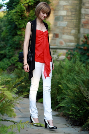Foley and Corinna top - Forever21 vest - Chanel purse - Mango jeans - Betseyvill