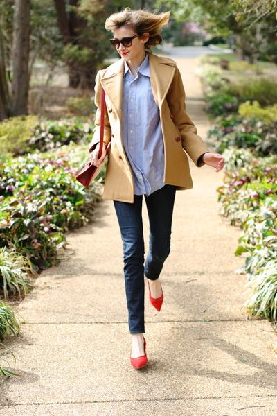 red mini romwe bag - camel Brooks Brothers coat - navy skinny H&M jeans
