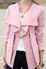 Light-pink-ruffled-romwe-blazer-black-snakeskin-h-m-jeans