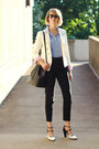 black bucket Mansur Gavriel bag - white double-breasted Zara blazer