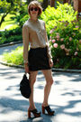 Beige-joseph-picone-blouse-black-urban-outfitters-skirt-gold-vintage-necklac