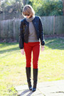 Black-knee-high-boots-karen-millen-boots-red-skinny-zara-jeans