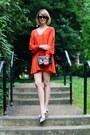 Carrot-orange-open-sleeve-asos-dress-black-mini-sophie-hulme-bag