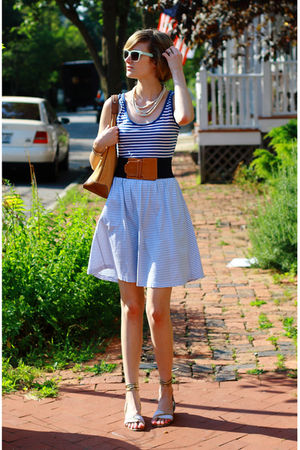 blue striped tank INC top - white gladiators Stella McCartney shoes