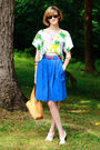 White-topshop-top-pink-j-crew-belt-blue-vintage-skirt-white-nicole-shoes-
