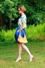 White-topshop-top-pink-j-crew-belt-blue-vintage-skirt-white-nicole-shoes-