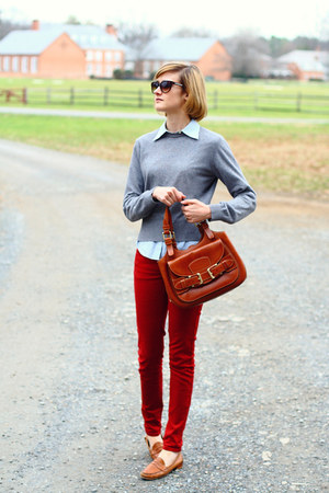 burnt orange loafers vintage flats - ruby red skinny jeans Zara jeans