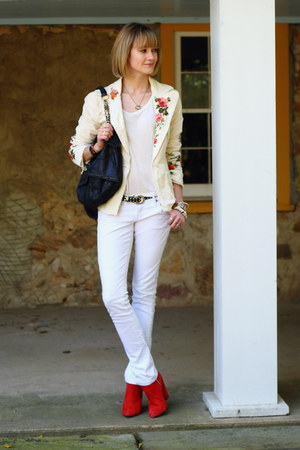 ivory JW Los Angeles blazer - red ankle boots Zara boots