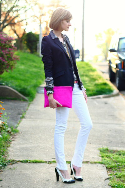 hot pink clutch asos bag - white skinny Mango jeans - black Zara blazer