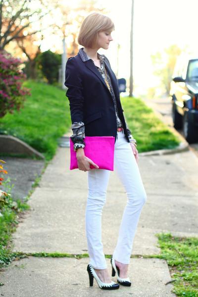hot pink clutch asos bag - white skinny Mango jeans - black Zara blazer