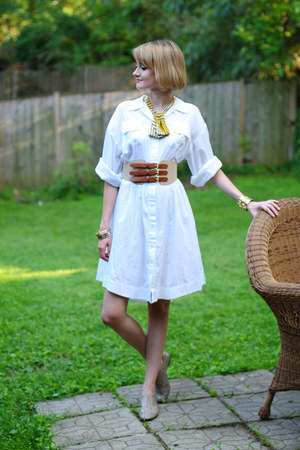 white shirt dress Twenty8Twelve dress - tan tri-buckle H&amp;M belt - mustard lady t