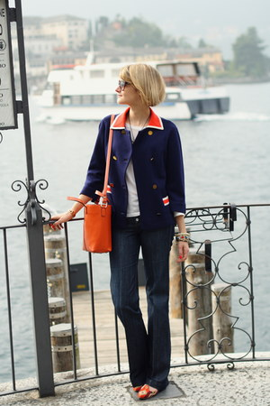 navy orange collar vintage blazer - navy tailored 7fam jeans