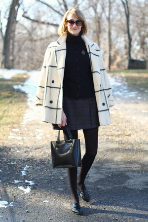 black cardigan Zara sweater - ivory plaid vintage coat
