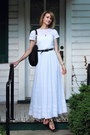 White-maxi-vintage-dress-black-western-vintage-belt-black-sandals-zara-flats