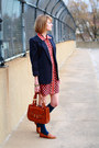 Ruby-red-kate-hill-dress-navy-shoulder-pads-vintage-blazer-tawny-saddle-bag-