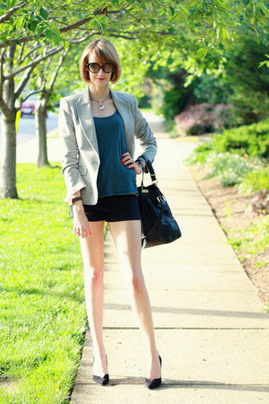 blue Loomstate top - silver sparkly Zara blazer - black shoulder bag Boyy bag