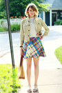 Sky-blue-plaid-vintage-dress-lime-green-jean-jacket-7-for-all-mankind-jacket