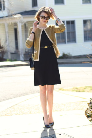black sheath H&M dress - mustard cardigan asos sweater